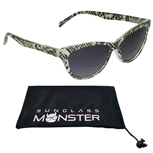 [Cateye Bifocal Glasses Tinted Womens Snake skin Pattern Frame] (Women Tinted Bifocal Readers)