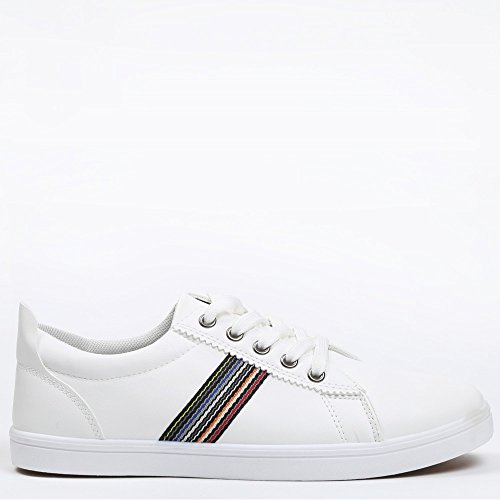 Ideal Shoes–Sneaker Herren mit Detail auf der Seite Carl, Weiß - Weiß - weiß - Größe: Fr 43