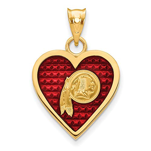 NFL Sterling Silver GP Washington Redskins Enameled Heart Pendant ()