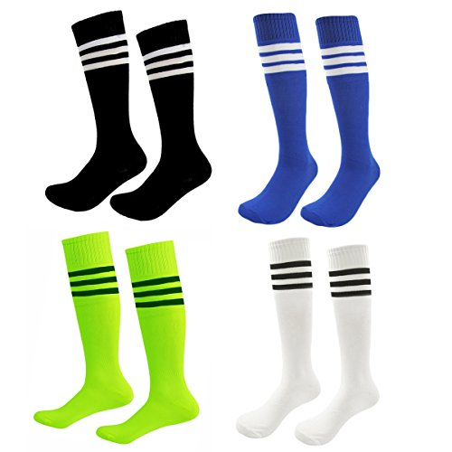 Kids Soccer Socks 4 Pack Boys Girls Cotton Team Socks Teens Children Soccer Socks (Shoe size 6-10 and Ages 12-15, Rainbow3)
