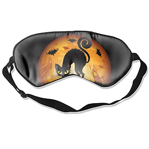 Super Smooth Night Blindfold Eyeshade with Adjustable Strap Halloween Scared Cat