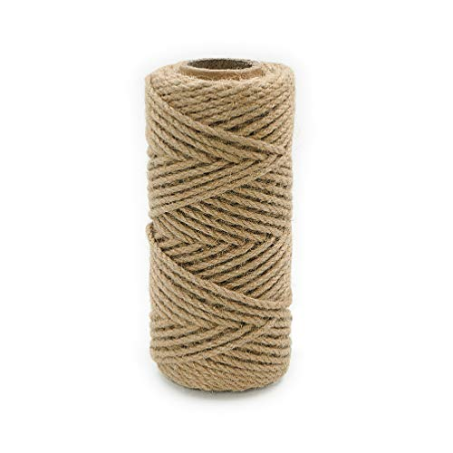 Aoneky Natural Jute Twine String - 3 Ply Thick Jute Rope for Garden, Packing, DIY Arts and Crafts, Floristry, Gift, Bundling, Decoration, Recycling (5 mm, 164 ft) ()