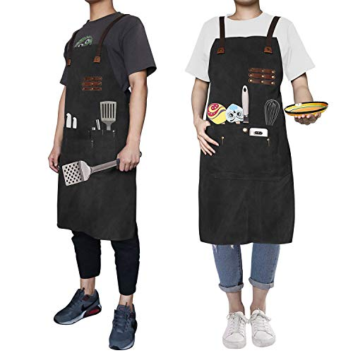Work Apron Professional Commercial Kitchen Cooking Canvas Apron Waterproof Tool Apron Workshop Restaurant Bar Apron w/Convenient Pockets Adjustable Stripe for Chef Waiters Artist Carpenter Painter BBQ(Black) from Reliancer
