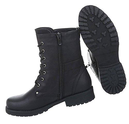 Damen Schuhe Stiefeletten Schnürer Used Optik Boots Schwarz - liv ... 3d0868ef91