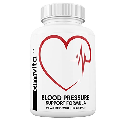 Premium Blood Pressure Support Supplement with Vitamins, Hawthorn, Niacin, Garlic and Hibiscus - Promotes Healthy Blood Pressure - Non-GMO - Made in USA - 120 ()