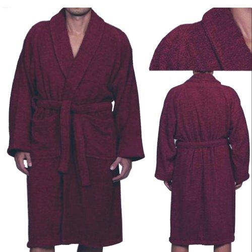MARRIKAS Unisex X-LARGE Egyptian Cotton Quality BURGUNDY ROBE - Marrikas Mens Robe
