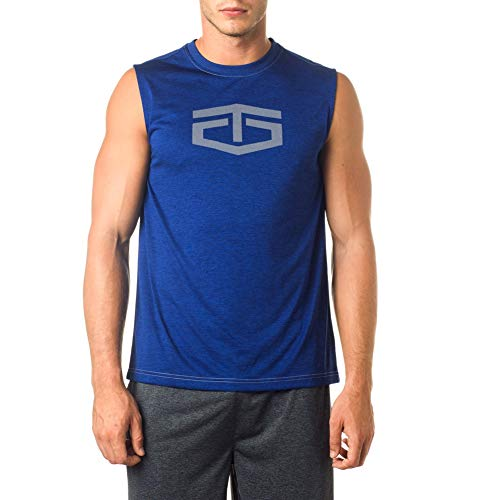 TapouT Men's Muscle Tank Top - Sleeveless Workout & Training Activewear Shirt - Weightlifting & Bodybuilding Shirts for Men - Streak Heather Power Muscle, Small