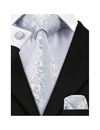 Mens Cufflinks Gray - Barry.Wang Mens Tie Set Gray Floral Silk Necktie Handkerchief Cufflinks