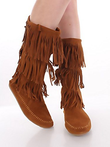 Camel Fringe Camel Moccasin Women's Layered in Black Boots Tall Dress Tassle ASqvExwO