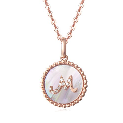 - Solid 14K Rose Gold Initial Pendant Necklace, Carleen Alphabet Coin Pendant Neckace with Mother of Pearl Round Diamond for Women Girls, 18