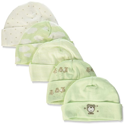 - Gerber Baby 5-Pack Caps, Teddy Bear, 0-6 Months