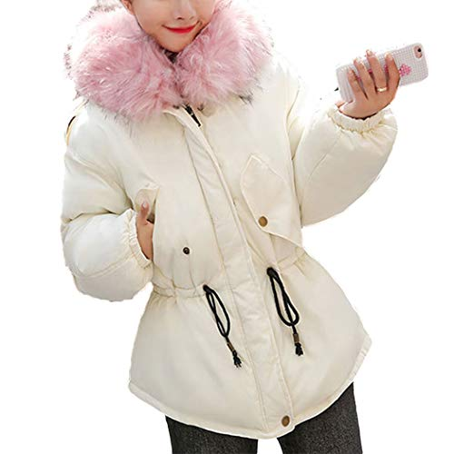 Short with White Down Women's Faux Jacket Fur Raylans Trim Hood Z5O1qR