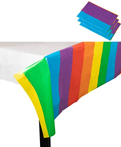 Rainbow Plastic Tablecloth - 3-Pack 54 x 108 Inch Disposable Table Cover, Fits up to 8-Foot Long Tables, Birthday, Rainbow Themed Party Decoration Supplies, 4.5 x 9 Feet]()