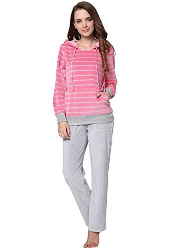 Godsen Women's Fashion Hoodies Lounge Set Pullover and Pants (S, Pink&Grey)