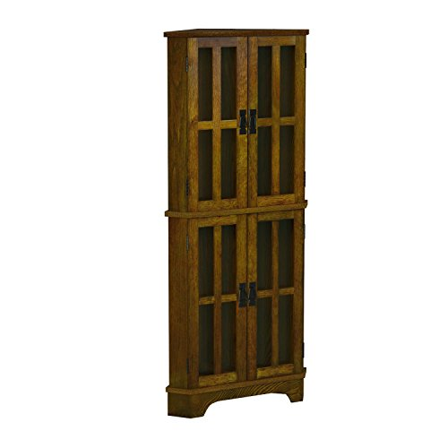 Coaster Home Furnishings 4-Shelf Corner Curio Cabinet Golden Brown