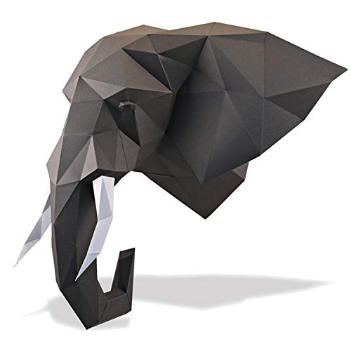 (Paperraz Elephant Head Paper Trophy Complete Craft Kit DIY 3D Building Puzzle Adults Low Poly Paper Animal Building kit)