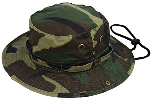 Deewang Summer Bucket Cap, Sun Hat With Adjustable CHINSTRAP, Outdoor Hunting Fishing Safari boonie Hat (Woodland-Camo, Large/X-Large)