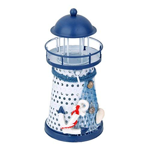 tecmac Imported 13.5cm Hand Painted Lighthouse Metal Model Candle Holder Nautical Decor #3