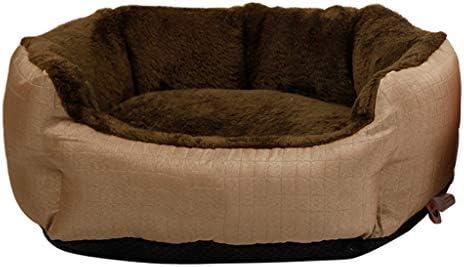 ペットベット ケンネルスモールドッグスプリングウォームプラスベルベットリムーバブルキャットリッターペットネストマット犬用品ペットベッド ベッド・ソファ SHANCL (Color : Brown, Size : L:71*65*22cm)