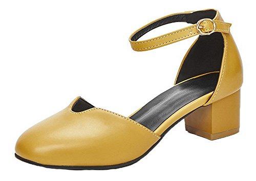 VogueZone009 Women Buckle PU Closed-Toe Kitten-Heels Solid Sandals, CCALP013212 Yellow