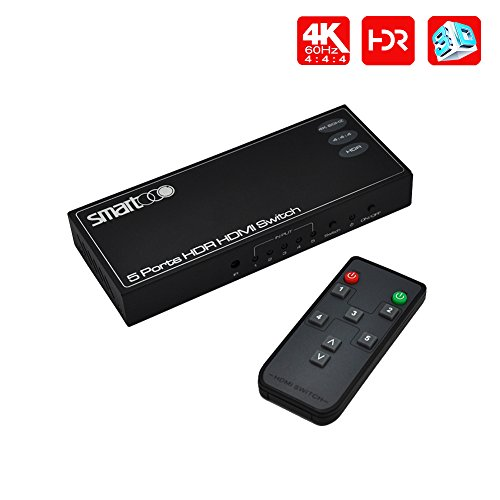 Price comparison product image SMARTOOO 23051 4K@60Hz HDMI 2.0 HDMI Switcher 5x1| HDR 5 Ports HDMI Switch 5x1(5 inputs and 1 output) 4:4:4 with remote control and auto switch