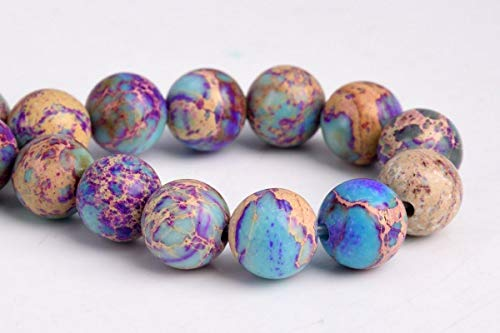"""8MM Natural ICY Blue Purple Sea Sediment Imperial Jasper AAA Round Beads 7.5"""", Beading, Jewelry Making, DIY Crafting, Arts & Sewing by Perfect Beeds Store"""