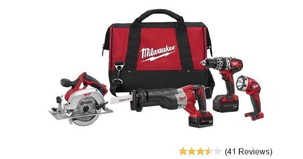 milwaukee 2694-24 m18 18-volt 4-tool cordless combo kit - power tool ...