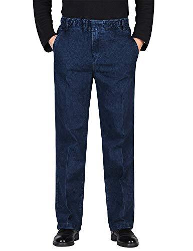 IDEALSANXUN Men's Elastic Waist Denim Solid Casual Pants (#1 Retro Blue, 38)