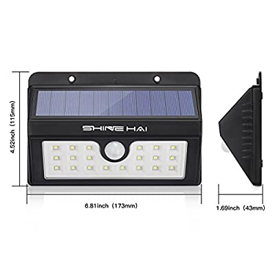 SHINE HAI Solar Lights Outdoor, Wireless Motion Sensor Wall Lighting, 20 LEDs Waterproof Security Light for Patio, Garden, Yard, Deck, Garage with Dusk-to-Dawn Photocell, 4-Pack