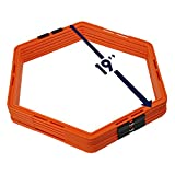 Yes4All Hex Agility Rings/Speed Rings with Carrying Bag – Hexagon Rings for Balance, Speed, and Motor Skills Training (Set of 12 Rings), B. Orange - 12 Rings