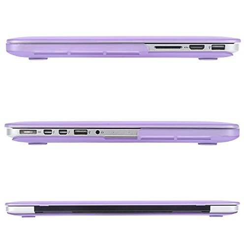 MOSISO Case Only Compatible with Older Version MacBook Pro Retina 13 inch (Models: A1502 & A1425) (Release 2015 - end 2012), Plastic Hard Shell Case & Keyboard Cover & Screen Protector, Light Purple