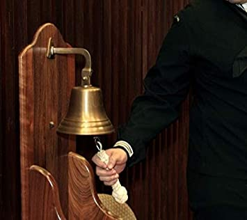 for dinner at school home decoration antique bell ARSUK nautical bell 7,5cm Lat/ón S/ólido for reception for hanging on the wall 3 solid brass for the navy on boat