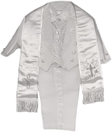 da6400a1a Baby Boys All White Christening Outfit, Tail Paisley Tuxedo Suit Design,  Angel Baptism Embroidered