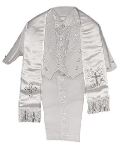 Angel Paisley (CALDORE USA Baby Boys All White Christening Outfit, Tail Paisley Tuxedo Suit Design, Angel Baptism Embroidered Jacket (Large) 18M, Silver Dove)