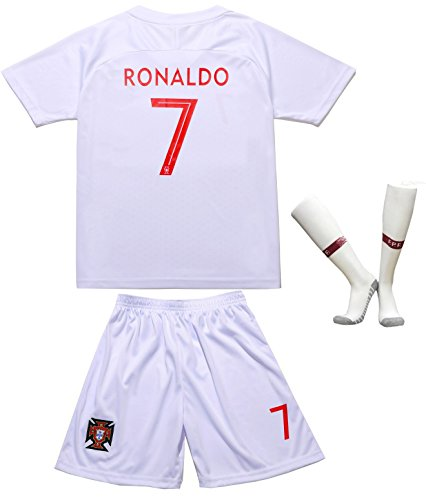 (EGS FWC 2018 Portugal #7 Cristiano RONALDO Away WhiteKids Soccer Jersey & Shorts Socks Youth Sizes (White, 12-13 YEARS))