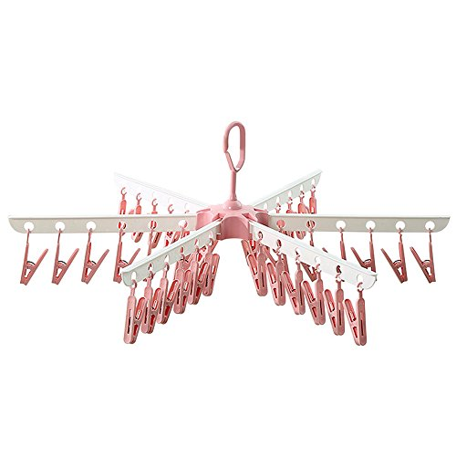 HaloVa Laundry Drying Rack, Windproof Hanging Foldable Portable Outdoor Indoor Clothesline with 36 Clips for Clothes Underwears Socks, Red (Ceiling Hanging Clothes Rack)