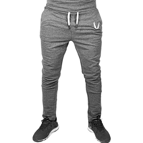 iZHH Men Sportswear Casual Elastic Fitness Workout Running Gym Pants Trousers(Deep Gray,38)
