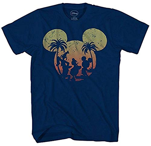 Disney Mickey Mouse Sunset Silhouette T-Shirt (Small, Navy)