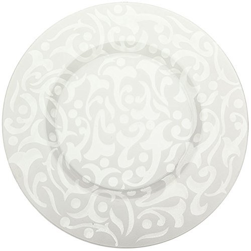Frosted Glass Charger - Prime Dinnerware Brocade 13 Inch with Rim Glass Charger Plate Set of 2