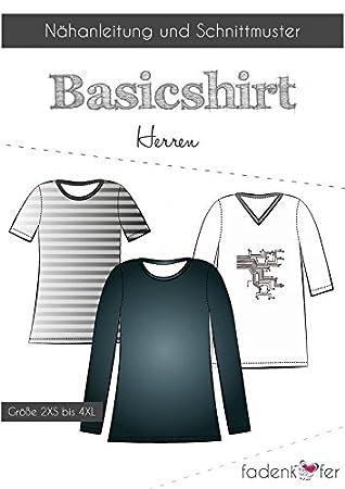 Schnittmuster Fadenkäfer Basic Shirt Herren Gr.2XS bis 4XL ...