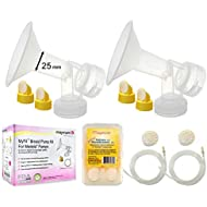 Breast Pump Kit for Medela Pump in Style Advanced Breastpump. Inc 2 Tubing, 25 mm Breastshields (Medium), 4 Valves, 6 Membrane; Replacement Kit for Medela Pump Parts, Pumpinstyle Parts; Made by Maymom