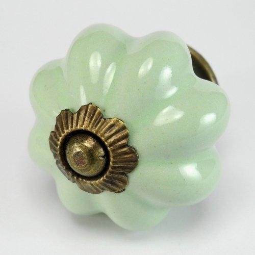 Retro Green Ceramic Cabinet Knobs, Drawer Pulls & Handles Set/4pc ~ K45 Hand Glazed Vintage Ceramic Melon Knobs with Antique Brass Hardware. Ceramic Knobs, Handles & Pulls for Dresser, Drawers, Cabinets & Vanity