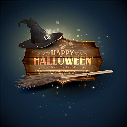 OFILA Happy Halloween Backdrop 5x5ft Halloween Costume Party Photography Background Witch Broom Bokeh Photos Halloween Trick or Treat Events Kids Halloween Photobooth Video Props]()