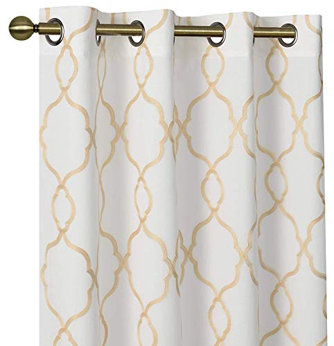 GoodGram 2 Pack Embroidered Semi Sheer Geometric Quatrefoil Grommet Top Window Curtains with Satin Backing for Privacy - Assorted Colors & Sizes (Gold, 84 in. Long) (Window Gold And White Curtains)