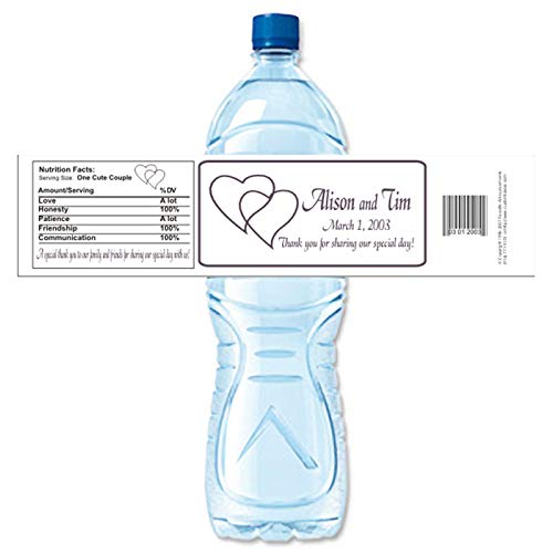 Wedding Water Bottle Labels.Amazon Com Interlocking Hearts Personalized Wedding Water