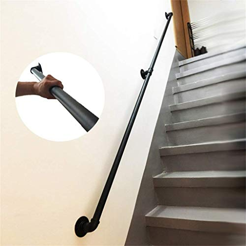 Wall Body Loft Stair Handrail, Indoor and Outdoor Decoration Kit, Metal Wrought Iron Safety Railings Industrial Water Pipe Design, Corridor Support Rod, (Size : 2ft)