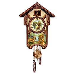 Linda Picken Gentle Golden Retrievers Cuckoo Clock - By The Bradford Exchange