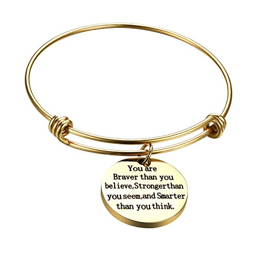 Adjustable Gold Bangle with Charm You are braver than you believe Expandable wire bangle Gifts for Lady Women