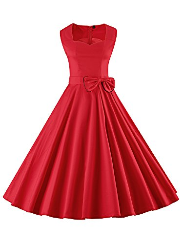 Cocktail Rouge Femme anne Robe Robe LUOUSE Audrey 50 de Rockabilly Vintage xanzxwTq1v