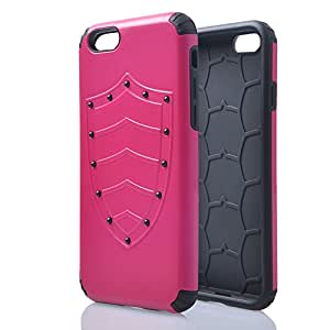 "M-Zebra Apple iPhone 6 4.7"" Dual Layer Hybrid Armor Defender Case, with Screen Protectors+Stylus (Black)+Cleaning Cloth (D-Rose Red)"